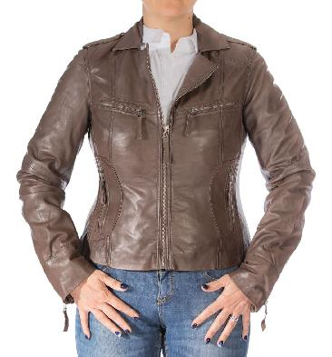Ladies Brown Leather Biker Jacket With Revere Collar - SL11017