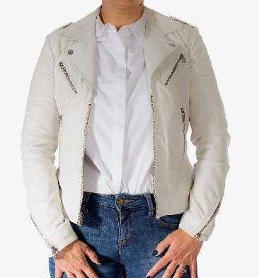 Ladies White Leather Biker Jacket With Revere Collar - SL118014