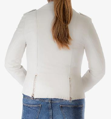 SL118014 - Ladies White Leather Biker Jacket With Revere Collar