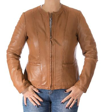 Ladies Shaped Tan Leather Collarless Zip Up Jacket - SL110151