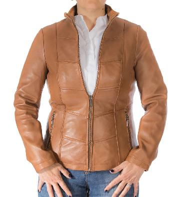Ladies Tan Leather Zip-Through Panelled Jacket - SL11018