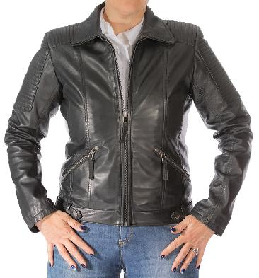 Ladies Black Leather Zip Jacket With Ribbing Detail - SL110201
