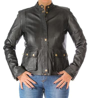 Ladies Multi Detail Zip Leather Jacket - SL11891