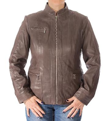 Ladies Hip Length Brown Leather Zip Jacket - SL1300BN