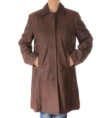 Ladies Knee Length Coco Buff Leather Coat - SL114610