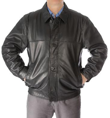 Mens Black Leather Button-Up Blouson - SL111717