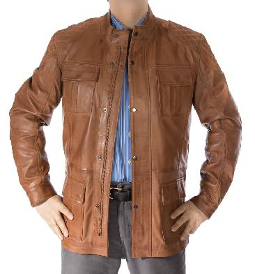 Antique Tan Leather Zip Up 3/4 Safari Style Jacket - SL1156110T