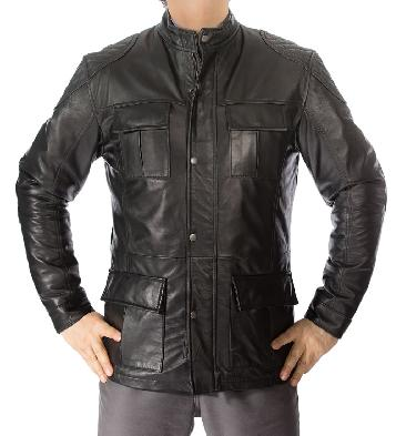 Black Leather Zip Up 3/4 Safari Style Jacket - SL1156110B
