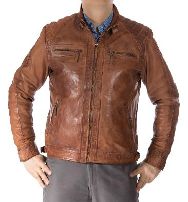 Mens Tan Leather Biker Jacket With Quilting Detail - SL112150