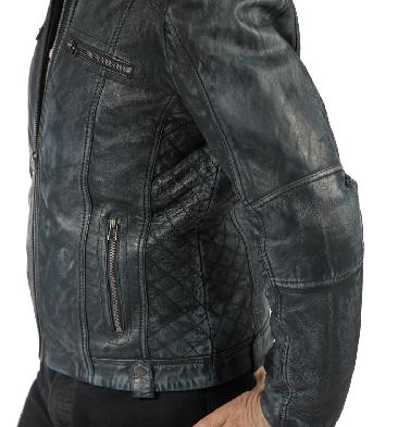 SL101131 - Antique Blue Leather Biker Jacket With Side Quilting Detail