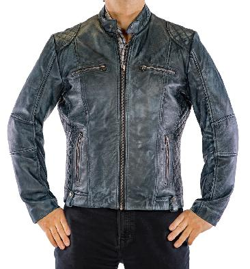 Antique Blue Leather Biker Jacket With Side Quilting Detail - SL101131
