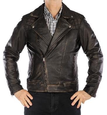 Antiqued Black Mens Cross-Zip Leather Biker Jacket - SL1012261