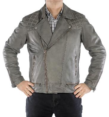 Antiqued Grey Mens Cross-Zip Leather Biker Jacket - SL1012262