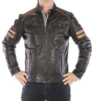 SL101232 - Antique Black Leather Biker Jacket With Striping
