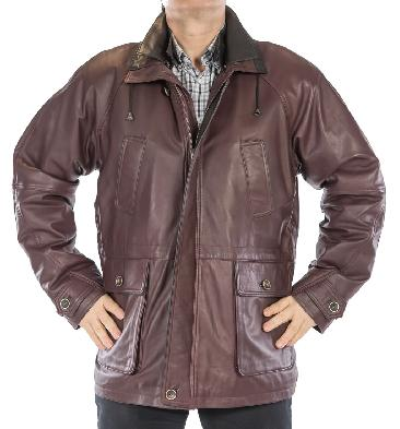 Easy-Fit 3/4 Length Burgundy Leather Coat With Black Trim - SL1209421