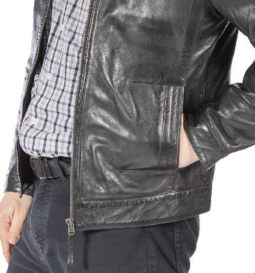 SL10013 - Black Zip-Up Leather Jacket