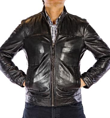 Black Zip-Up Leather Jacket - SL10013