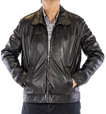 SL1114 - Black Leather Lightweight Zip-Up Jacket