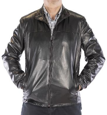 Mens Lightweight Black Leather Zip Jacket - SL113191