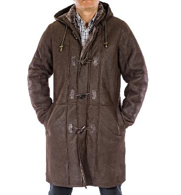 "Mens Brown ""Nappalamb"" Sheepskin Duffle Coat - SL11702"