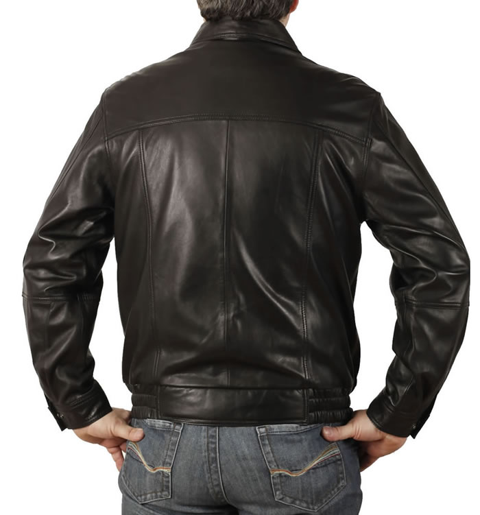SL1116 - Mens Classical Style Black Leather Blouson