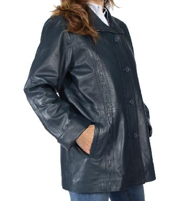 SL13415 - 3/4 Navy Leather Jacket With Inlaid Detail