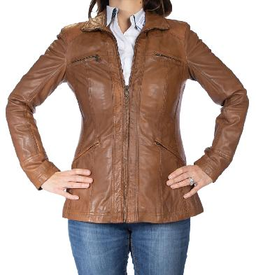 Ladies Long Line Zip-Up Tan Leather Jacket - SL110246
