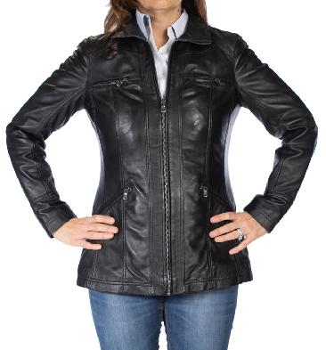 Ladies Long Line Zip-Up Black Leather Jacket - SL110245
