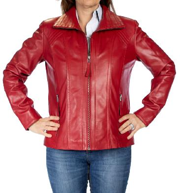 Ladies Detailed Semi Fitted Red Leather Zip Jacket - 1102002