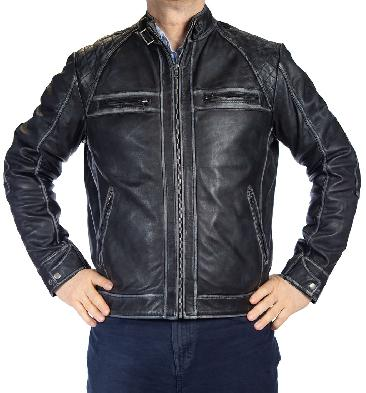 SL101241 - Mens Antiqued Black Leather Biker Jacket With Quilting Detail