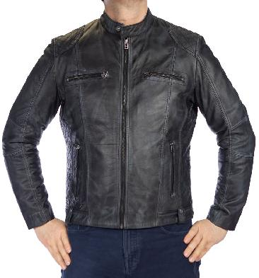 Antique Charcoal Leather Biker Jacket With Side Quilting Detail - SL101135