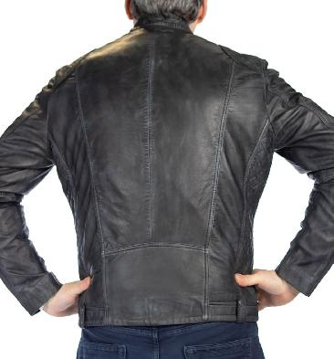 SL101135 - Antique Charcoal Leather Biker Jacket With Side Quilting Detail