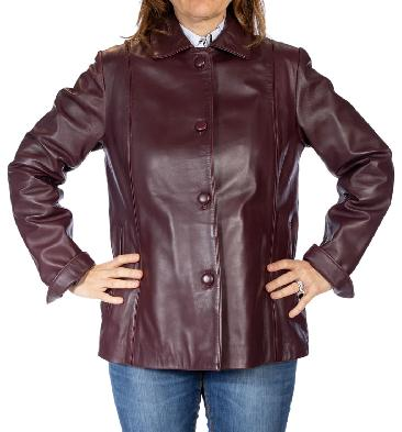 Semi Fitted Burgundy Leather Jacket - SL100222