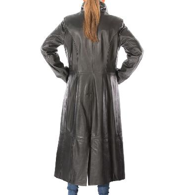 SL117110 - Ladies Tailored Full Length Black Leather Coat