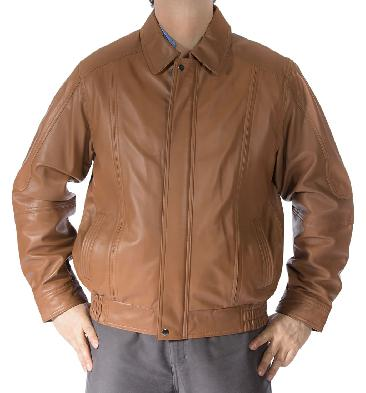 Mens Light Tan Classical Style Leather Blouson - SL1117S