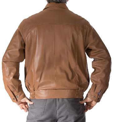 SL1117S - Mens Light Tan Classical Style Leather Blouson