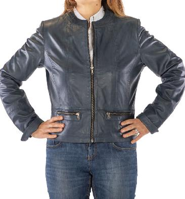 Ladies Blue Leather Collarless Zip Up Jacket - SL110155