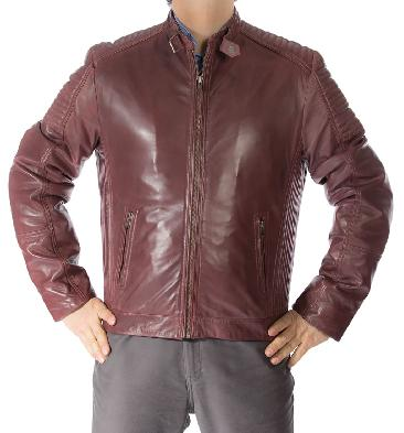 SL10114 - Mens Antiqued Burgundy Leather Biker Jacket With Ribbing Detail