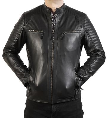 SL101257 - Black Leather Biker Jacket With Double Ribbing Detail