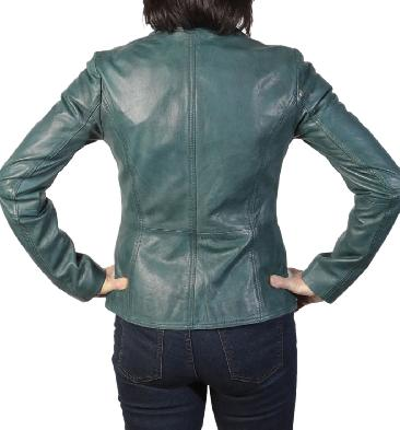 SL117573 - Ladies Petrol Leather Hip Length Biker Jacket