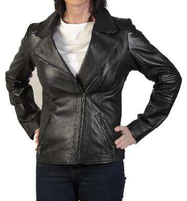 Ladies Cross-Over Black Leather Biker Jacket With Ribbing Detail - SL1180136