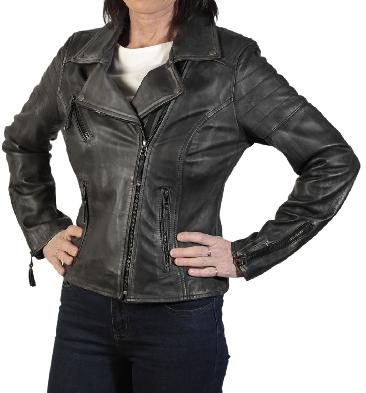 Ladies Cross-Over Antique Charcoal Leather Biker Jacket - SL1180137