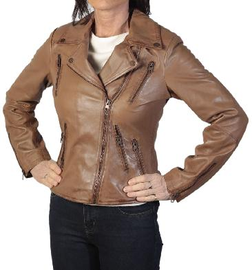 Ladies Cross-Over Tan Leather Long Line Biker Jacket - SL1180138
