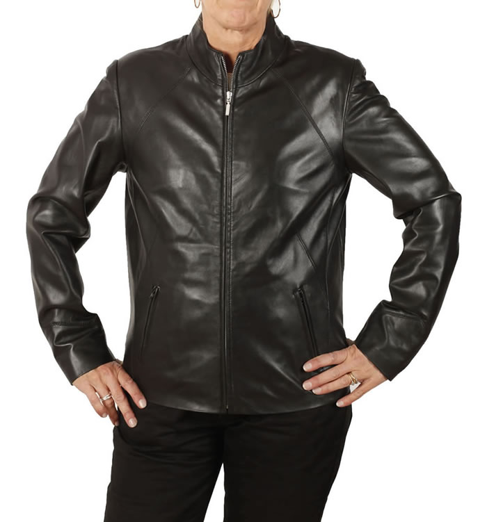 Ladies Hip Length Black Leather Zip-Up Jacket - SL1185