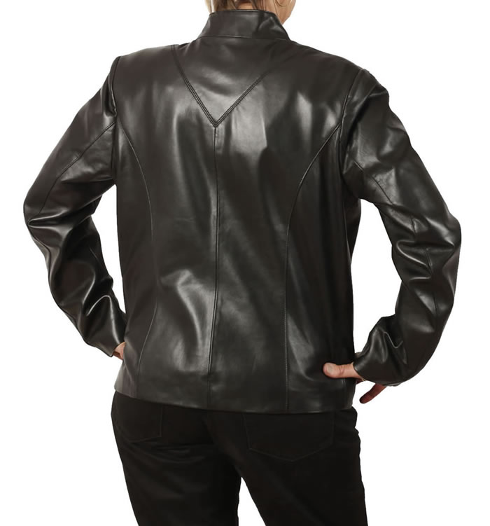 SL1185 - Ladies Hip Length Black Leather Zip-Up Jacket