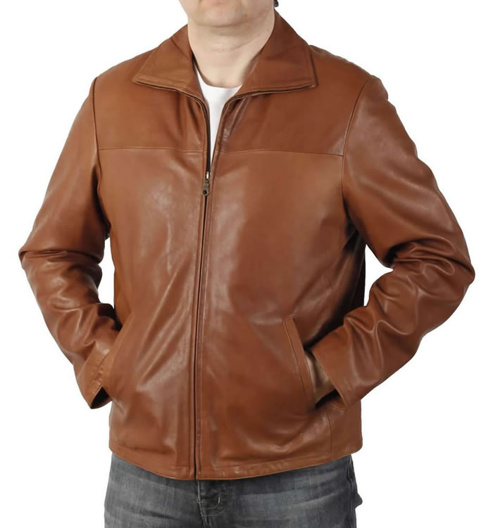 Zip Through Collar Tan Leather Jacket - SL1008