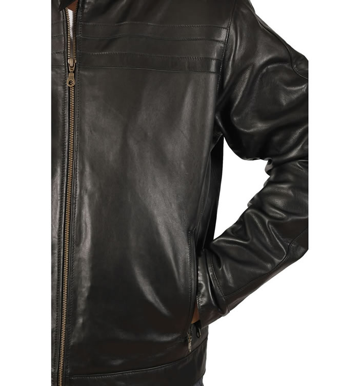 SL1010 - Self Colour Striped  Black Leather  Biker Jacket