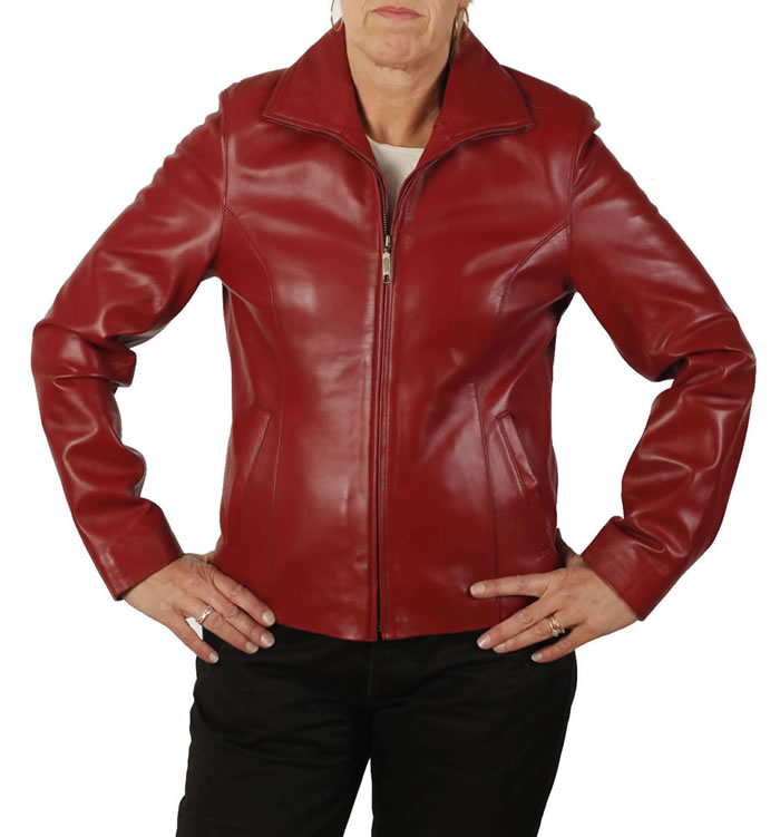 Ladies Semi-Fitted Red Leather Zip Jacket - SL1101