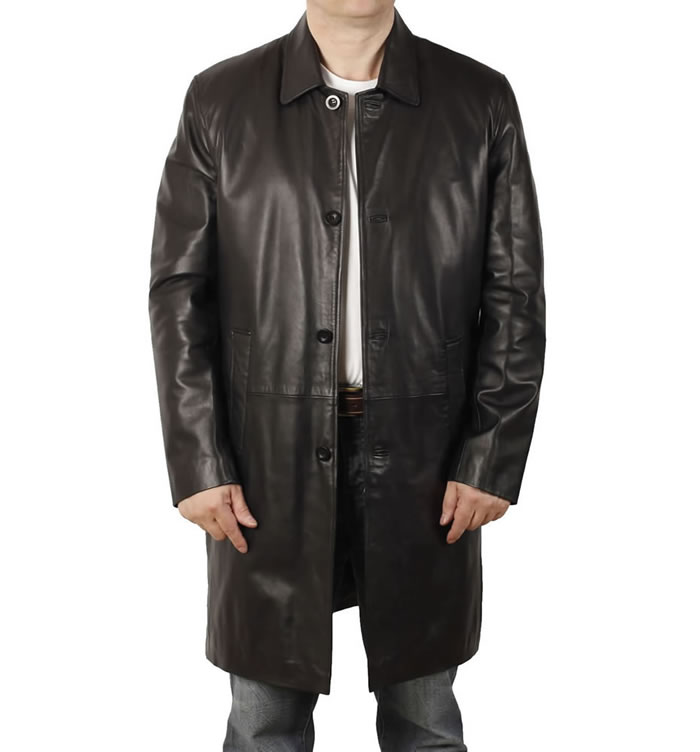 Closed Collar 7/8 Style Black Leather Coat - SL1125
