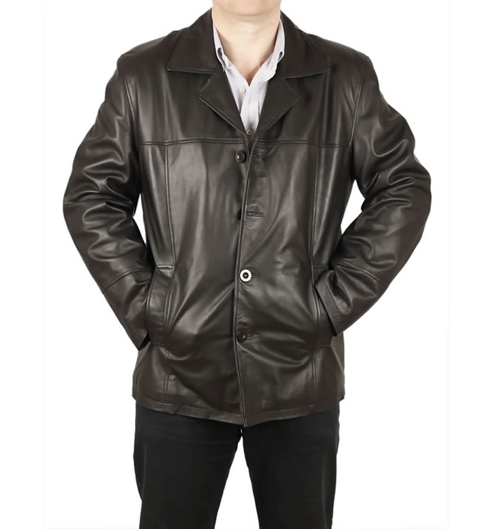 SL1130 - Gents Four Button Black Leather Jacket